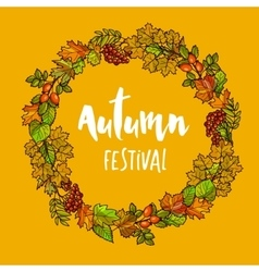 autumnal or fall round frame background wreath vector image
