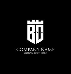 Bo initial shield logo design inspiration crown vector