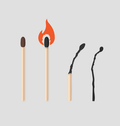 Burning match stages set matchstick with sulfur vector