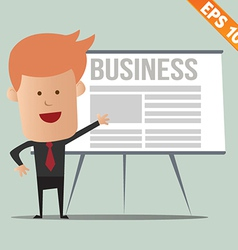 Cartoon business man present information vector