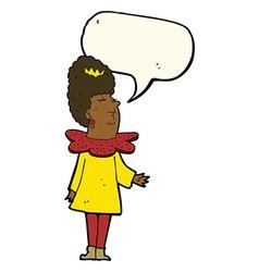 Cartoon queen with speech bubble vector