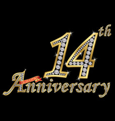 Celebrating 14th anniversary golden sign vector