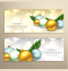 christmas banners set with realistic xmas balls vector image