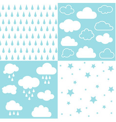 clouds and rain seamless patterns vector image