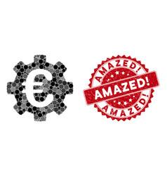 Collage euro development gear with grunge amazed vector