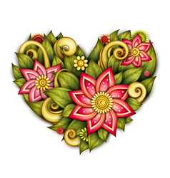 Colored floral composition in heart shape vector