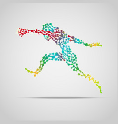 Colorful running man abstract sport man concept vector