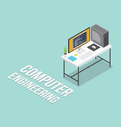 computer engineering workspace isometric vector image
