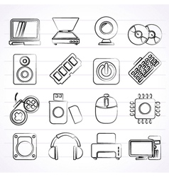 Computer Parts and Devices icons vector