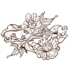 contour image stylized whale with peonies vector image