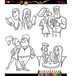 couples set cartoon coloring page vector image