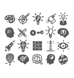 Creativity icons set icons for inspiration idea vector