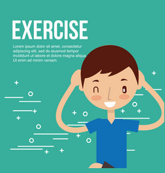 cute boy making exercise stretching sport vector image