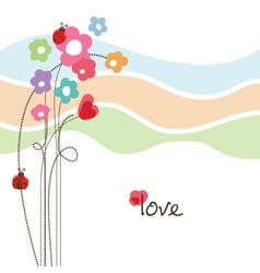 Cute floral love card vector