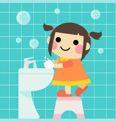 Cute girl is washing hands in bathroom vector