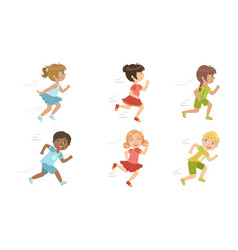 Cute kids running set adorable boys and girls vector