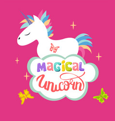 cute magical unicorn isolated on pink background vector image