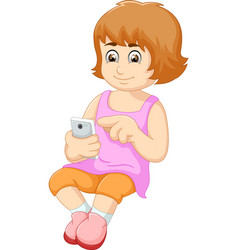 cute woman cartoon using mobile phone vector image