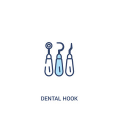 dental hook concept 2 colored icon simple line vector image
