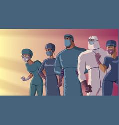 Doctors heroes team dusk vector
