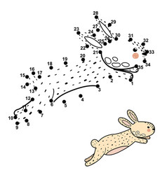 Dot to dot game with cute jumping rabbit vector