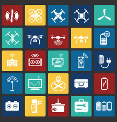Drone icons set on color squares background for vector