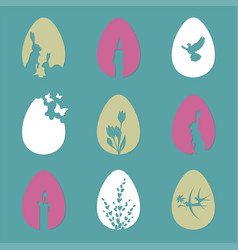 easter eggs with a silhouette of a rabbit candles vector image