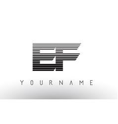Ef e f black and white horizontal stripes letter vector