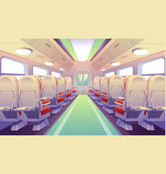 Empty bus train or airplane interior with chairs vector