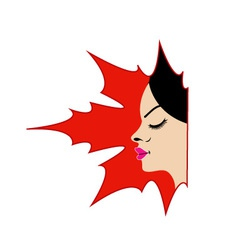 Face of a pretty lady in a maple leaf vector