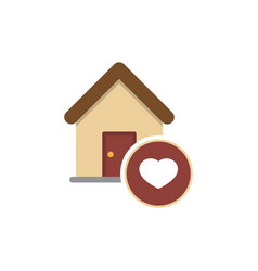 family house flat icon house with heart inside vector image