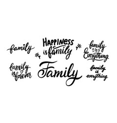 family is everything happiness lettering isolated vector image
