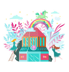 fantastic magic pegasus and unicorn fairies vector image