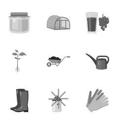 Farm set icons in monochrome style Big collection vector