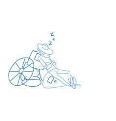 farmer countryman sleeping wheat sacks relax vector image
