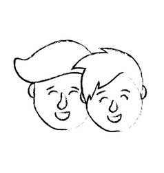 figure avatar couple head with hairstyle design vector image