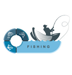 Fishermen in a boat with infographics vector