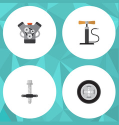 flat auto set of motor tire wheel pump and other vector image