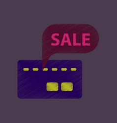 Flat shading style icon bank card sale vector