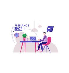Freelancer man modern home office design vector
