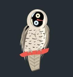 funny graphics owl on a dark background vector image
