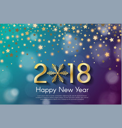 Golden new year 2018 concept on cyan and violet vector