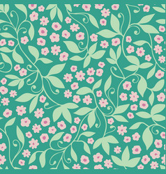 green pink floral tendril seamless pattern vector image