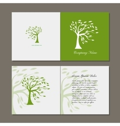 Greeting card with green tree vector