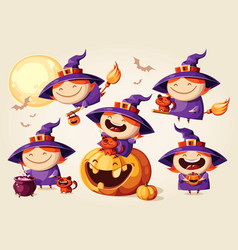 halloween cartoon witch set character vector image