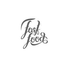 hand lettering fast-food emblem vector image