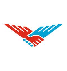 handshake wings bird vector image