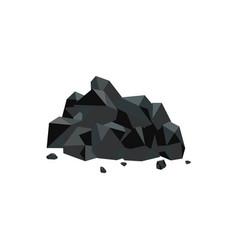 Heap black natural coal mineral flat vector
