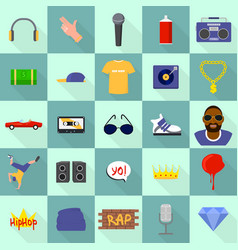 Hiphop icons set flat style vector