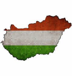 hungary map with flag inside vector image